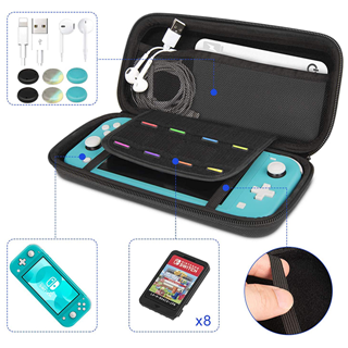 Top Handle Easy Carrying Travel Portable Lightweight Durable Black Eva Hard Case For Switch Lite