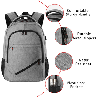 "Laptop backpack  Travel Computer Bag for Women & Men, Anti Theft Water Resistant College School Bookbag, Slim Business Backpack w/ USB Charging Port Fits UNDER 17"" Laptop & Notebook"